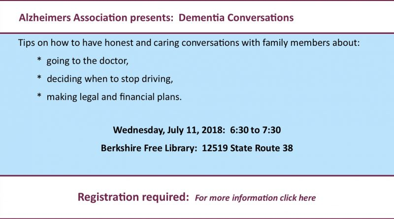 Dementia conversations:  July 11, 2018