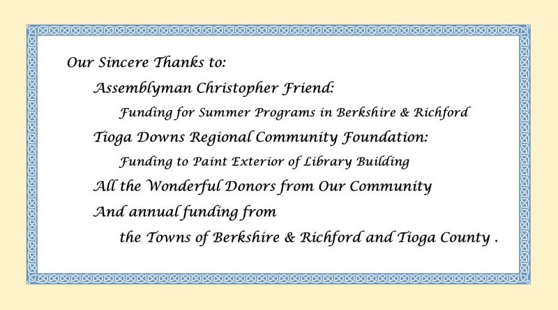 Thank you to all our library supporters!